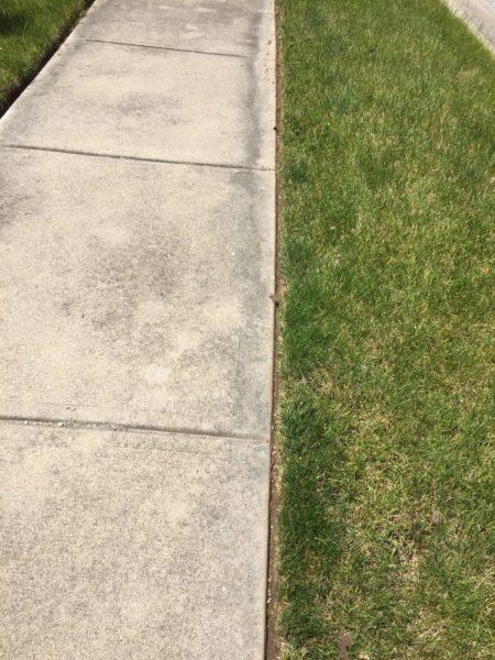 edging grass along sidewalk